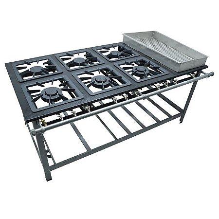 Fogão Industrial a Gás de Baixa Pressão M23 BM sem Forno  - Série Luxo 40X40 Metal Maq