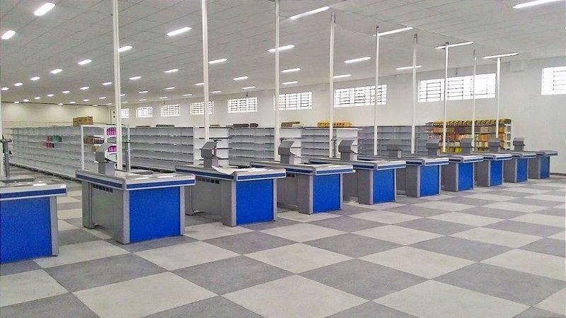 Check-out para Automação Comercial ref: azul - Cristal Aço