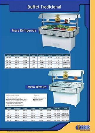Buffet Tradicional com Mesa Refrigerada ou Mesa Térmica - Jabur