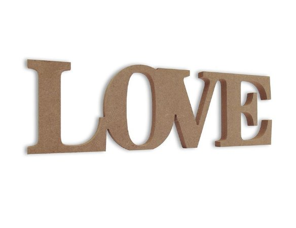 Love em Mdf Cru 35 cm x 11 cm - Modelo 04
