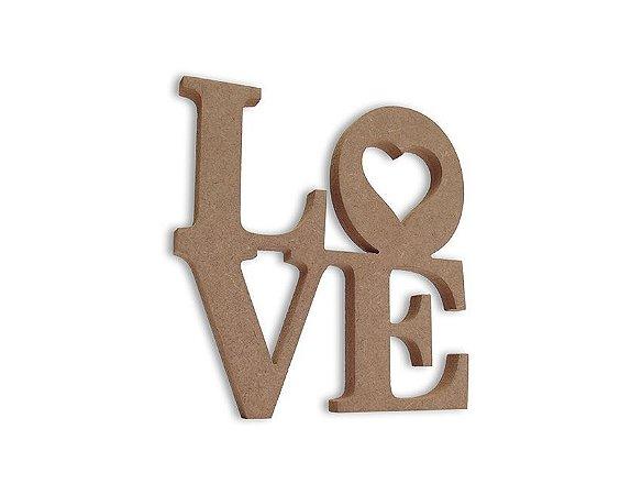 Love em Mdf Cru 20 cm x 20 cm - Modelo 07
