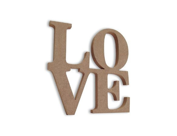 Love em Mdf Cru 20 cm x 20 cm - Modelo 08