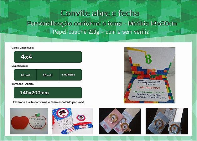 Convite festa infantil - abre e fecha - 14X20cm