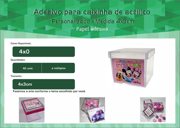 Adesivo P/ Caixinha de acrílico / Garrafinha