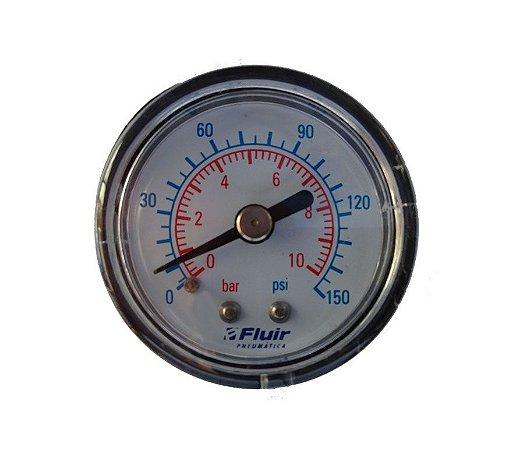 Manômetro Relógio 1/8 150 PSI Horizontal - Fluir