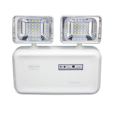 Luminária de Emergencia com 2 Faróis 32 LEDS 600 Lumens Bateria Selada - Segurimax