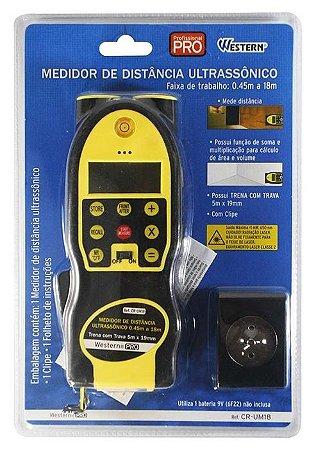 Medidor de Distância Ultrasonico com Trena CR-UM18 - Western