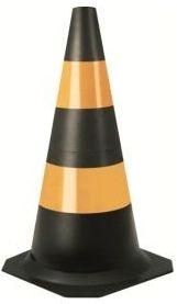 Cone de Sinalização de 50cm Preto e Amarelo - Plastcor