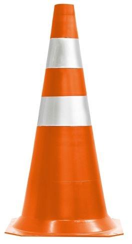 Cone de Sinalização de 75cm Laranja e Branco - Plastcor
