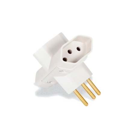 Plug T para  Tomada 3 Saidas Cinza 3P 10A - Ilumi