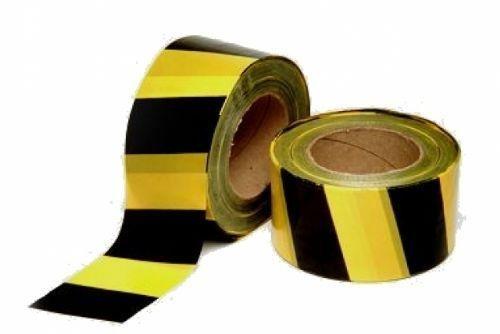 Fita Zebrada para Sinalização Preto / Amarela de 7cm x 200 metros - Plastcor