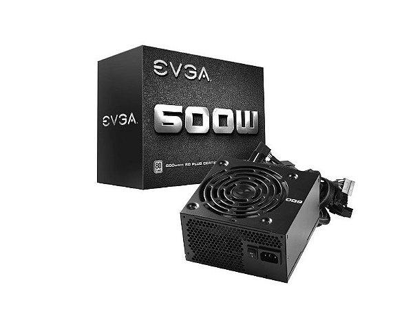 Fonte 80Plus White Evga 600W S/Cabo De Força, 100-W1-0600-KR
