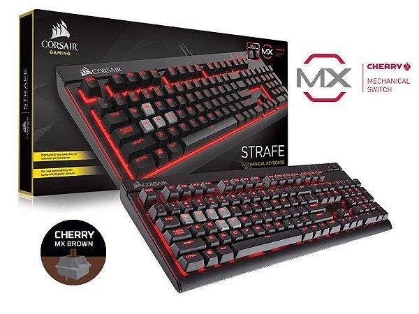 Teclado Gamer Corsair Strafe Retroiluminacão Teclas Cherry Mx Brown