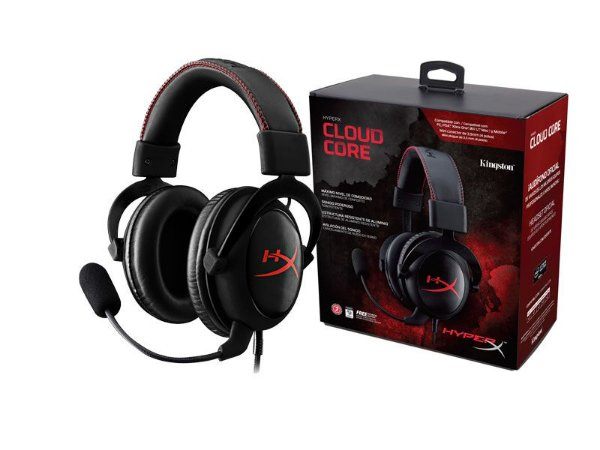 Hyperx cloud core headset KHX-HSCC-BK-LR preto com vermelho