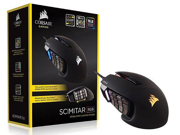 Mouse Gamer Corsair Ch-9304111-Na Scimitar Rgb 16000 Dpi Moba/Mmo Preto