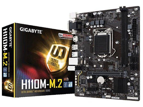 Placa mãe socket 1151 intel gigabyte ga h110m m.2 ddr4 2400Mhz usb 3.1