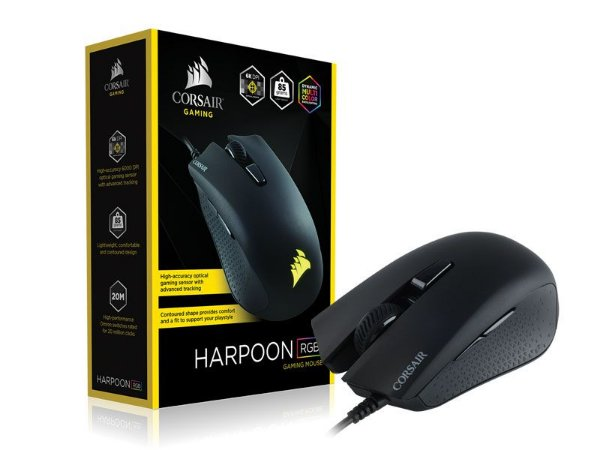 Mouse Gamer Corsair Ch-9301011-Na Harpoon 6000Dpi Multicolor Rgb Preto