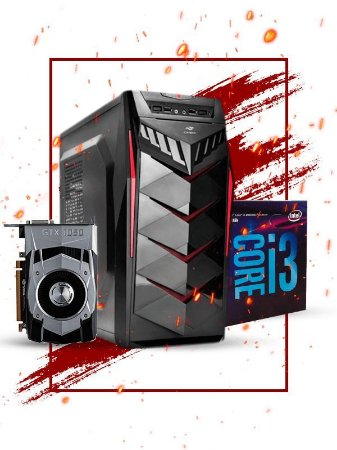 Pc Gamer Intel, i3 8100, Gtx 1050ti 4gb, 8gb de ram, ssd 120gb, fonte 400W