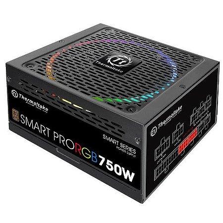 Fonte 80plus Thermaltake 750w smart pro RGB pfc ativo bronze, PS-SPR-0750FPCBBZ-R