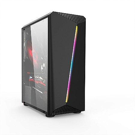 Gabinete Gamer Mid Liketec Lighting RGB, Lateral em Vidro Temperado
