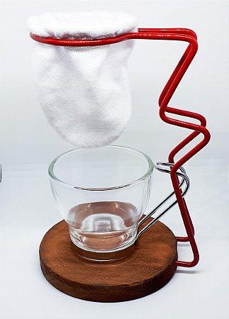 Coador de café individual com caneca de vidro