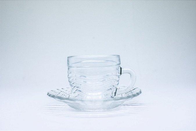 Xícara de vidro com pires 70ml