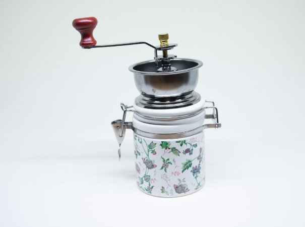 Moedor de café de porcelana redondo estampada