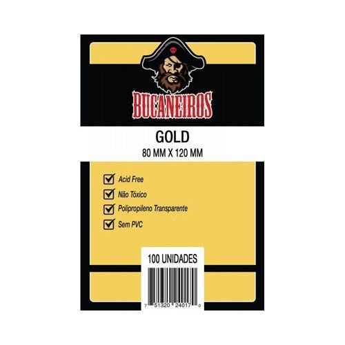 Sleeves Gold Bucaneiros 80mm x 120mm