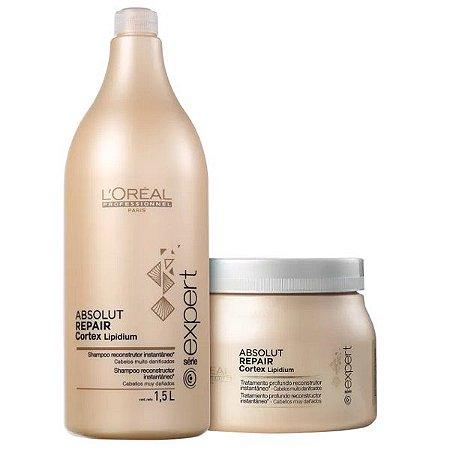 64d1332dd Kit Loreal Absolut Repair Cortex Lipidium - Shampoo 1,5L+ Máscara ...