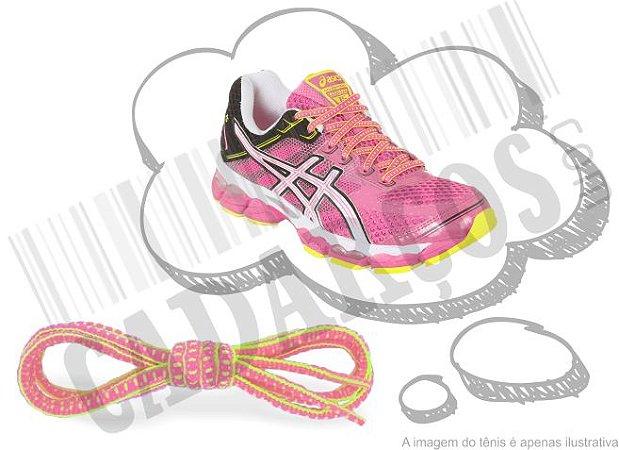 Cadarço de Tênis Pontilhado Rosa e Amarelo Oval Pol 120cm (Par)