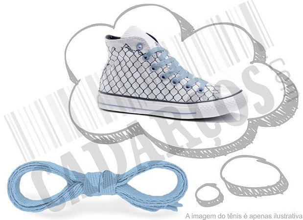 Cadarço de Tênis e Sapatênis Azul Bebê Achatado Pol (Par)