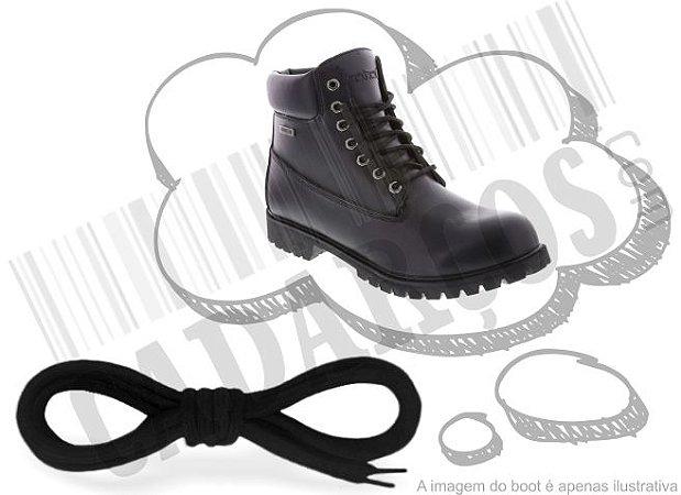 Cadarço de Boot ou Bota Preto Redondo Pol 120cm (Par)