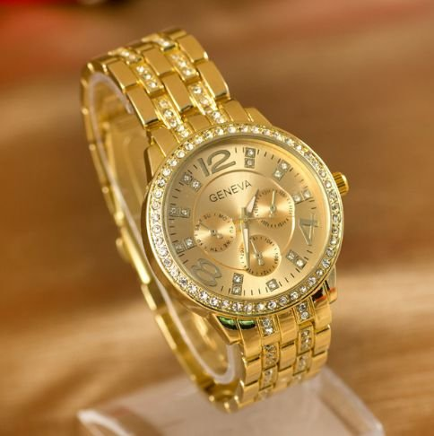 Relógio De Pulso Feminino Geneva Strass Luxury - Gold, Rose e Prata