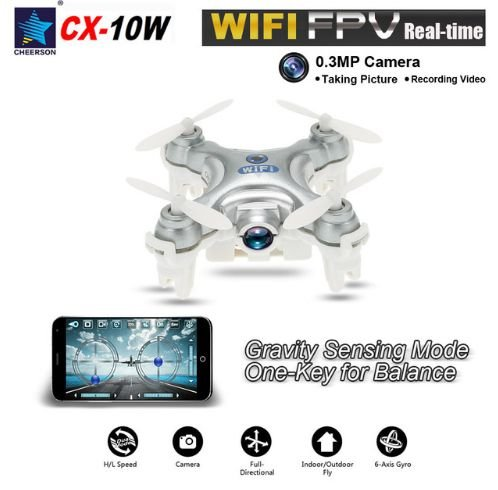 Mini Drone CX-10W Cheerson WiFi de bolso com câmera 0.3MP