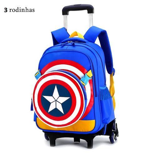 Mochila infantil escolar Capitão América com Rodinhas