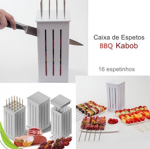 Caixa de Espetos BBQ Kabob 16 espetinhos / Para carnes, frutas e afins