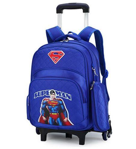 Mochila escolar infantil Super Man com rodinhas