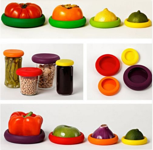 Kit 4 Tampas de Silicone Protetoras de Alimentos