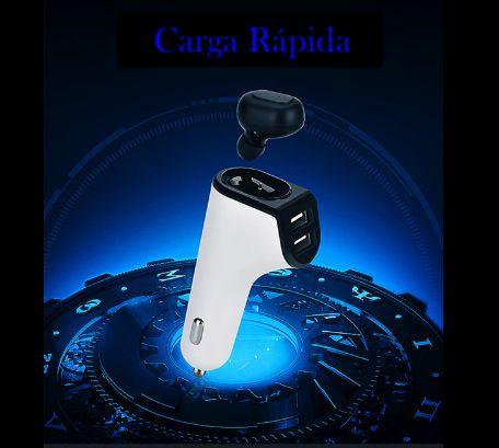 Carregador Veicular + Fone de ouvido Bluetooth e duas saídas USB