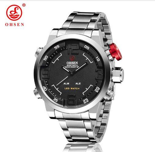 Relógio Oshen Prata Led