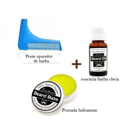 Kit Essência crescimento capilar + Pomada de hidratação da barba + Pente aparador de barba