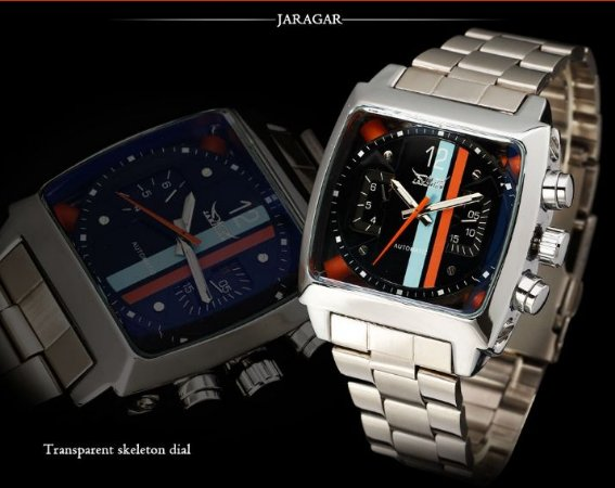 Relógio Automático Jaragar Listras Luxo