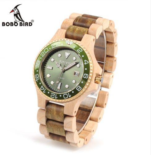 Relógio Bobo Bird - Bambu Madeira com espumante Modelo Luxo C25 Calendário