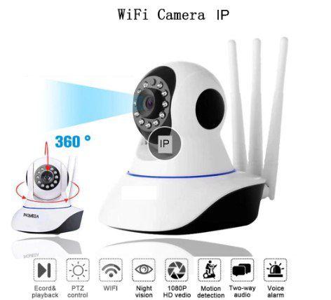 Câmera IP de segurança e Babá eletrônica - Wi Fi 3 Antenas