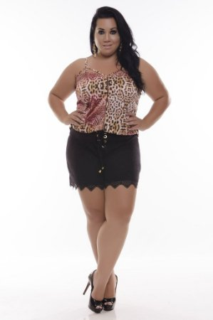 Shorts Plus Size Maria Flor Black
