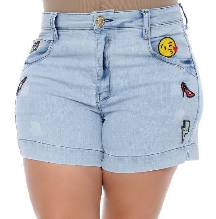 Shorts Plus Size Jeans Patches