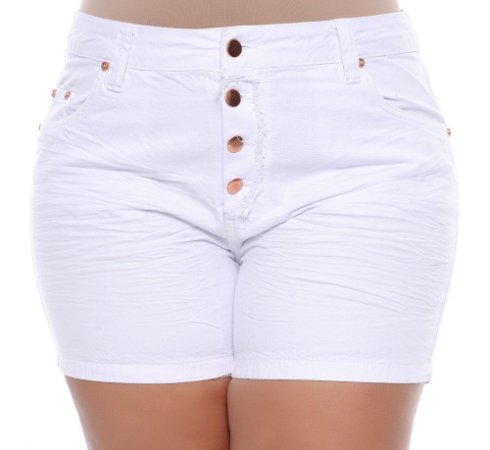 Shorts Plus Size Resort Branco
