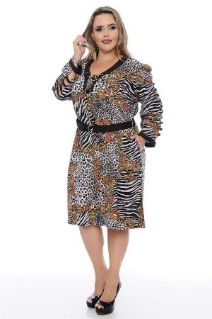 Vestido Plus Size Estampa Print Black