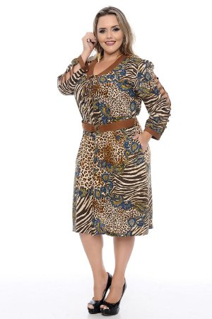 Vestido Plus Size Estampa Print