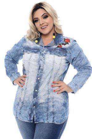 Camisa Jeans Plus Size Kaly